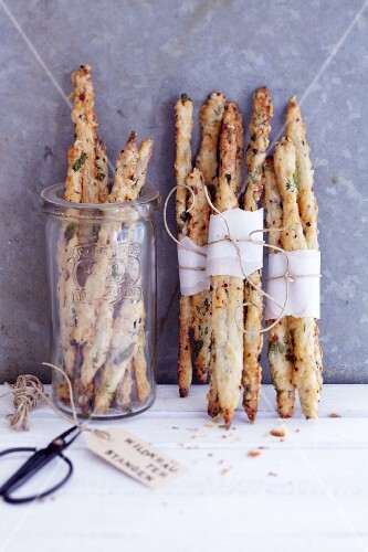 Cheese sticks with wild herbs