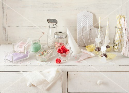 Various ingredients for decorating cake pops