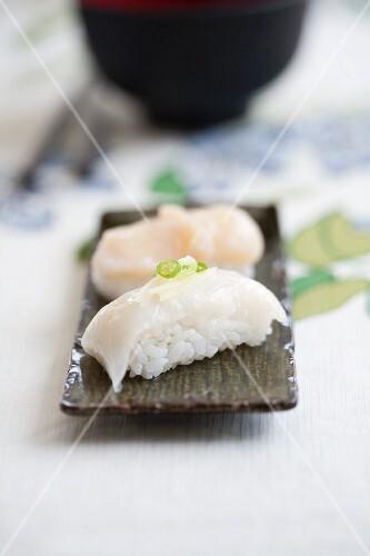 Nigiri sushi with squid