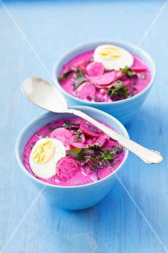 Cold beetroot soup with radishes, cucumber, dill, keffir and egg