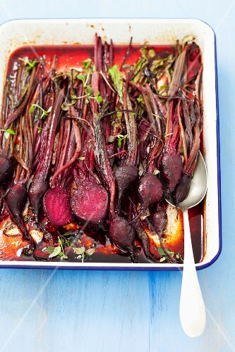 Roasted beetroot with a honey and balsamic glaze