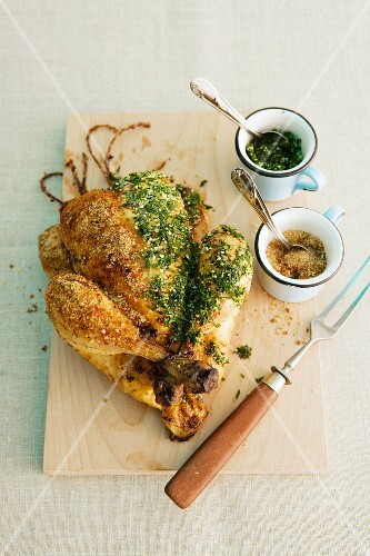 Roast chicken with herbs and gomasio