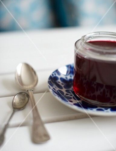 A jar of cranberry jam