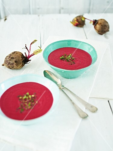 Beetroot soup with apple and green chilli peppers