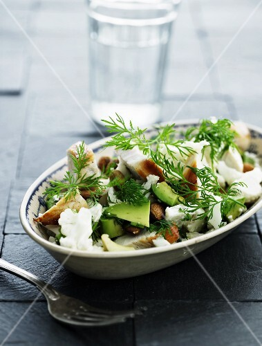 Brussels sprouts salad with chicken and avocado