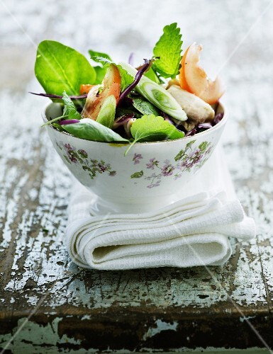 Mixed leaf salad with fresh herbs, spinach and red cabbage
