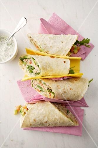 Tuna fish wraps with avocado