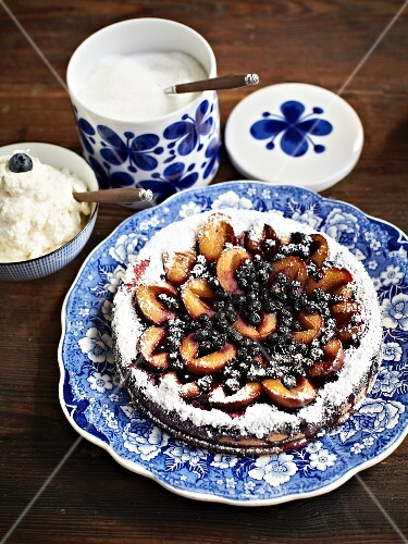 Yeast cake with damsons and blueberries