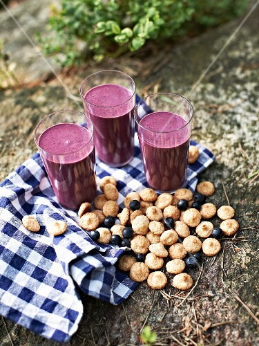 Three glasses of blueberry smoothie with amaretti, berries and a tea towel on a forest floor