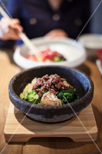 Bibimbap (dish made with rice, vegetables and beef, Korea)