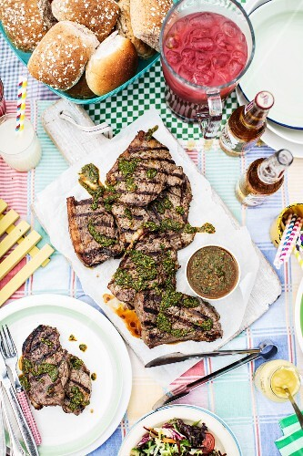Grilled beef steak with pesto
