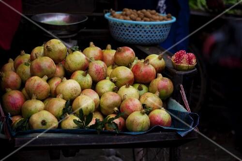 Fresh pomegranates at a market in China