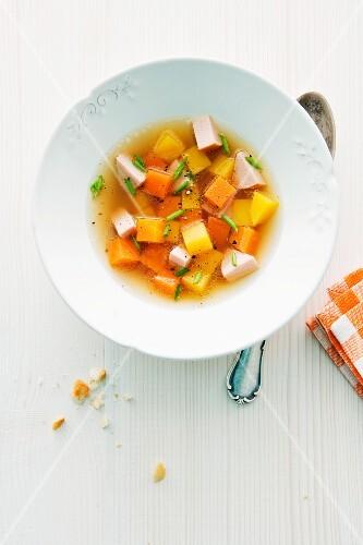 Clear pumpkin soup