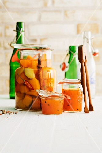 Pumpkin and passion fruit jam with spicy pickled pumpkin