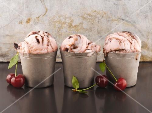 Chocolate and cherry ice cream sundaes