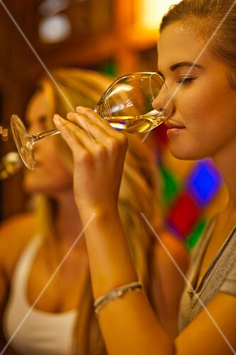 Young women at a wine tasting session