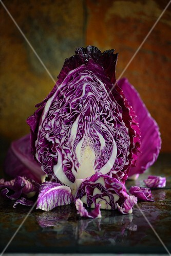 A halved red cabbage