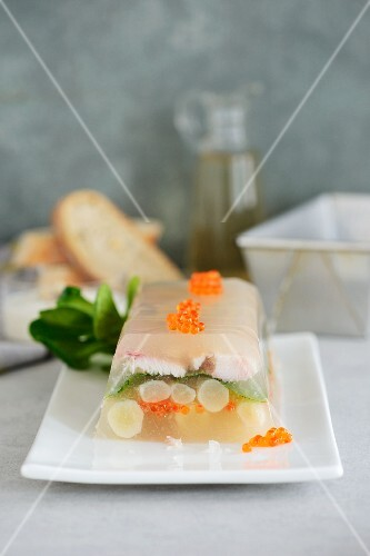 A black salsify and smoked trout terrine