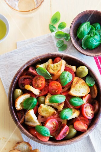 Panzanella (Italian bread salad) with basil