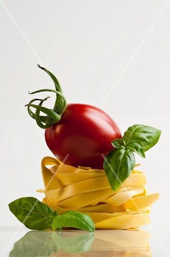 A tomato and basil on tagliatelle