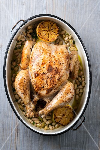 Roast chicken with lemon and white beans