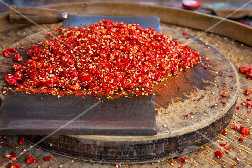 Chopped chilli peppers at a market in Lijiang, China