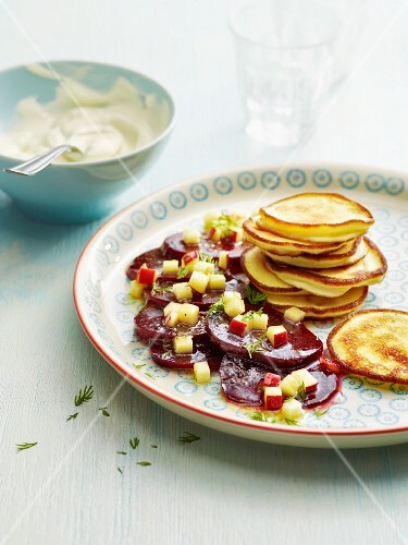 Horseradish pancakes with sliced beetroot