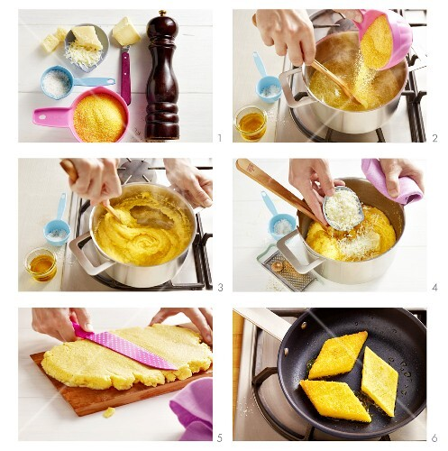 Fried polenta slices being made