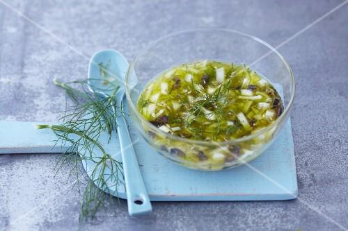 A bowl of fennel vinaigrette