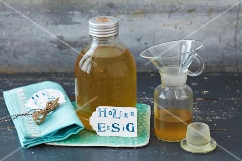 Homemade elderflower vinegar