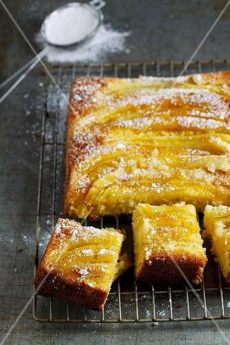 A warm upside-down banana cake