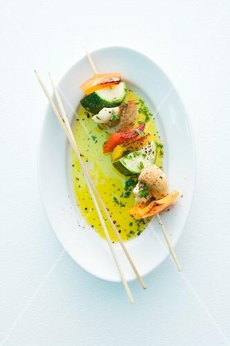 A vegetable skewer