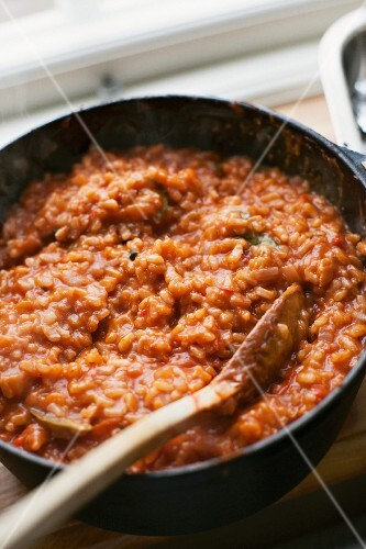 Tomato risotto in a pan