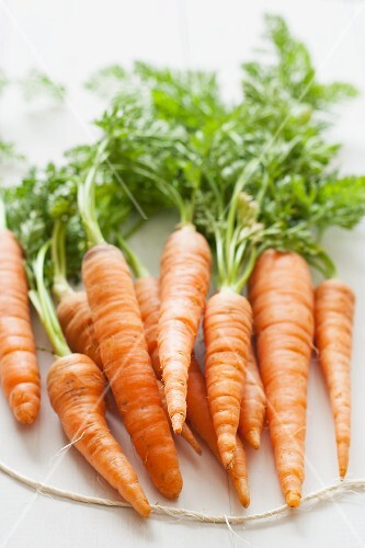 Organic carrots with stems