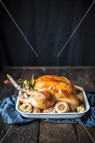 Roast turkey with garlic for Christmas dinner