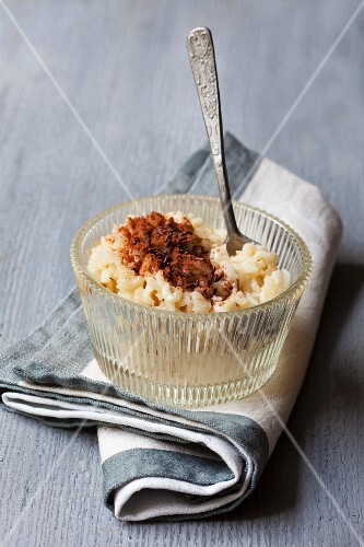 Rice pudding with chocolate