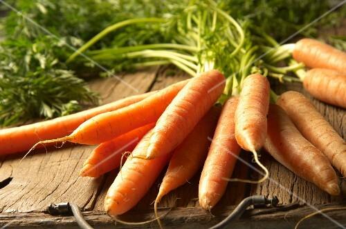Fresh carrots on wooden planks