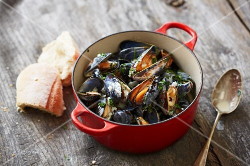Steamed mussels with white bread