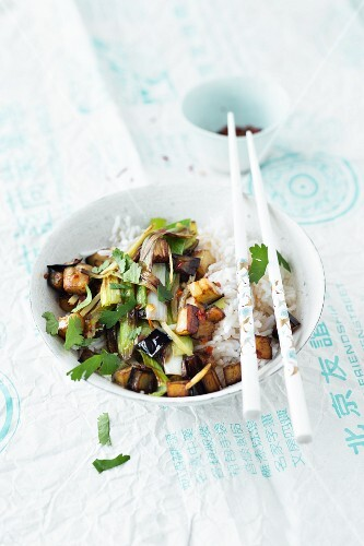 Rice with an aubergine medley