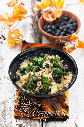 Quinoa salad with broccoli and blueberries