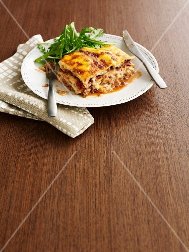 Lasagne with prosciutto and porcini mushrooms