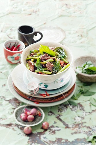 Beef, bean and Thail basil salad (Thailand)
