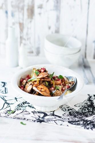 Stir-fried chicken with pomegranate seeds