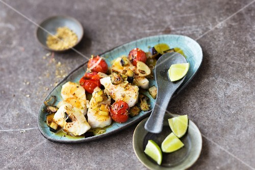 Fish curry with aubergines and tomatoes