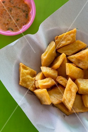 Fried tofu made from yellow split peas (Thailand)