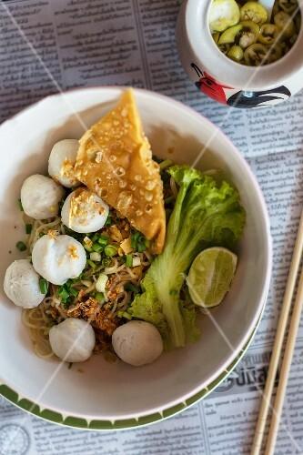 Noodles with fish dumplings (Thailand)