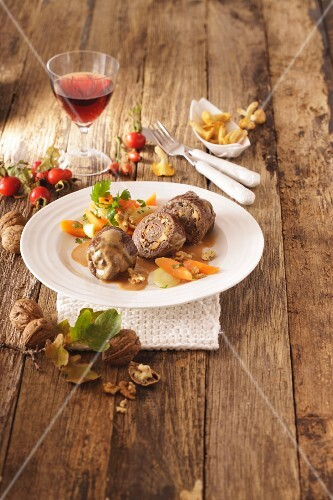 Beef roulade with a carrot medley