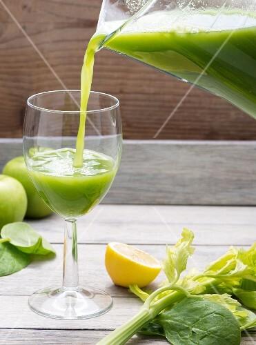 Freshly pressed apple and celery juice