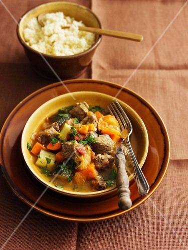 Lamb tagine with apricots and couscous