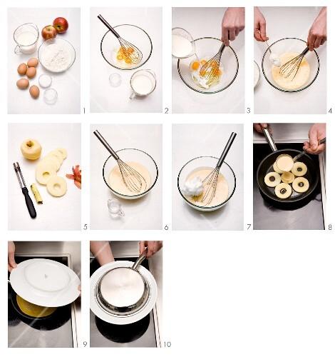 Apple pancakes being made